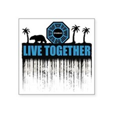 """2-live-together-dharma-whit Square Sticker 3"""" x 3"""""""