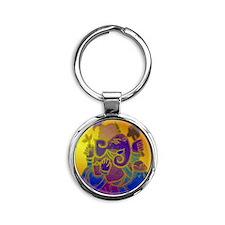 GaneshGlass.gif Round Keychain