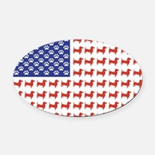 DOXIE-FLAG-Tee Oval Car Magnet