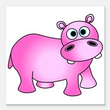 """Cute Pink Baby Hippo Square Car Magnet 3"""" x 3"""""""