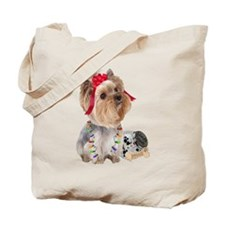 Yorkie Treats For Santa Tote Bag