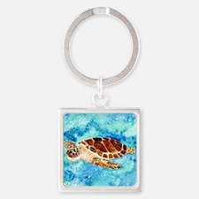 paintings of sea turtles and gifts Square Keychain