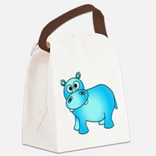 Cute Pink Baby Hippo Canvas Lunch Bag