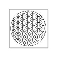 "Flower-of-Life-white Square Sticker 3"" x 3"""