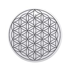 Flower-of-Life-white Round Ornament