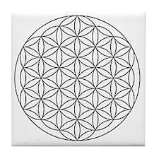 Flower-of-Life-white Tile Coaster