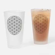 Flower-of-Life-white Drinking Glass