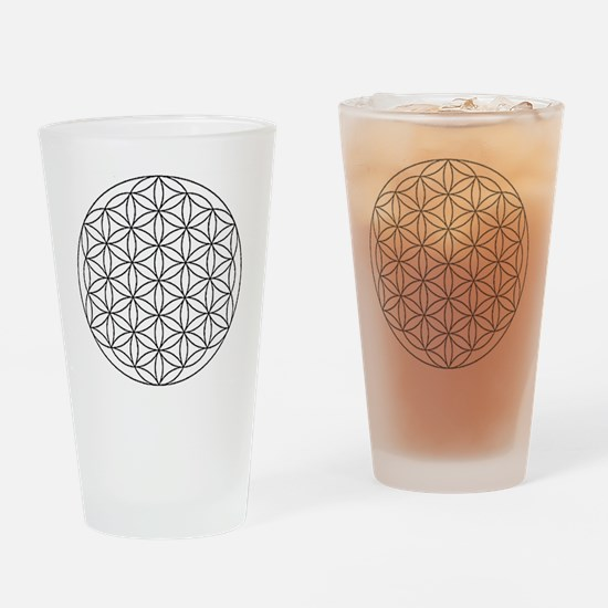 Flower-of-Life-white Drinking Glass