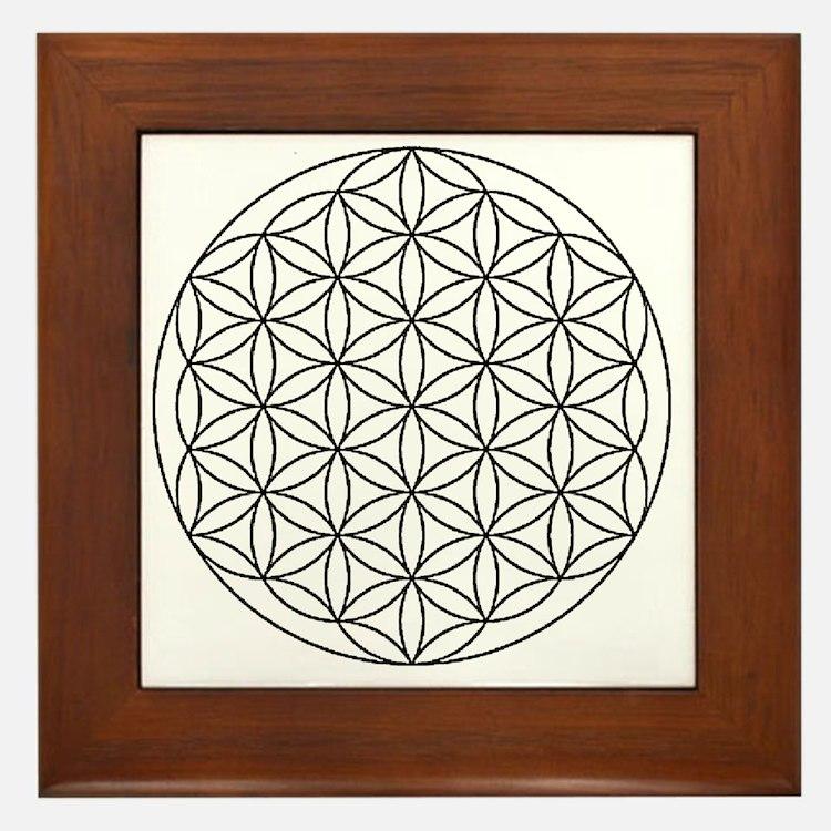 Flower-of-Life-white Framed Tile
