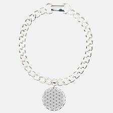 Flower-of-Life-white Charm Bracelet, One Charm