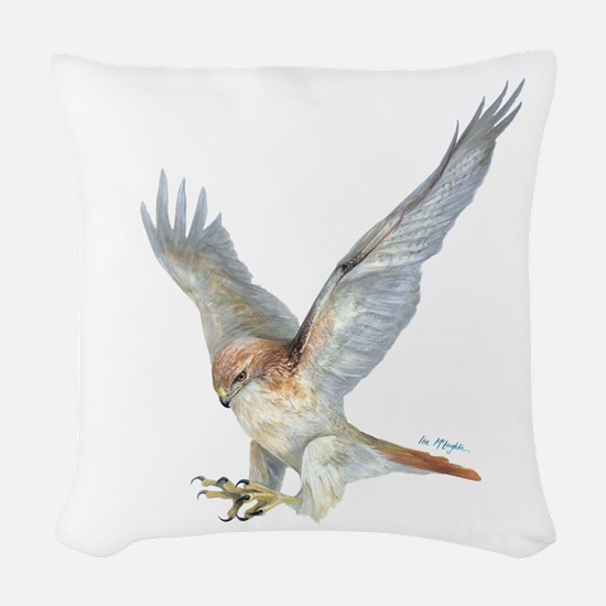 Striking Red-Tail Hawk Woven Throw Pillow