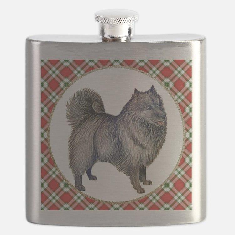 RDORN-keeshond-christmas Flask