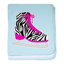 Zebra Pink and Black Ice Skate baby blanket