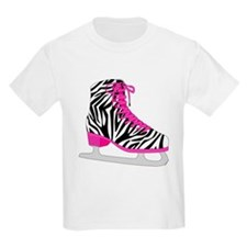 Zebra Pink and Black Ice Skate T-Shirt
