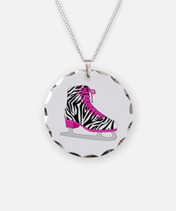 Zebra Pink and Black Ice Skate Necklace