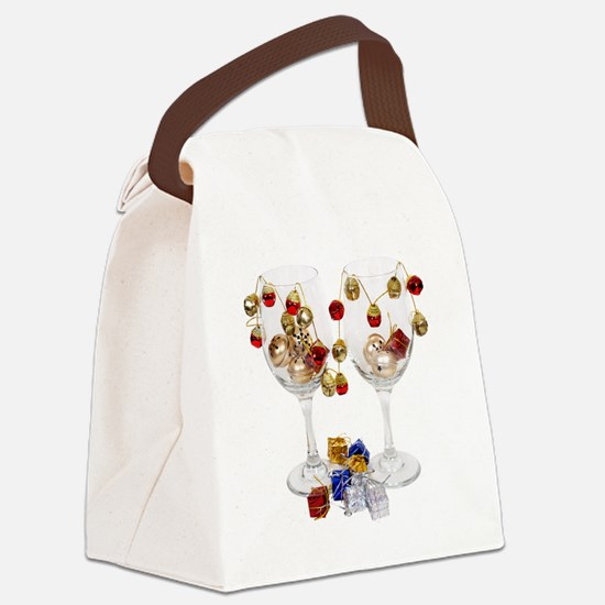 CheerfulWineGlasses053110 Canvas Lunch Bag