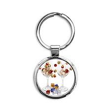 CheerfulWineGlasses053110 Round Keychain
