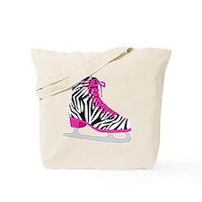 Zebra Pink and Black Ice Skate Tote Bag