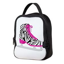 Zebra Pink and Black Ice Skate Neoprene Lunch Bag