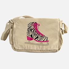 Zebra Pink and Black Ice Skate Messenger Bag