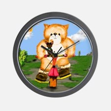 puss in boots tricycle Wall Clock
