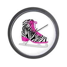 Zebra Pink and Black Ice Skate Wall Clock