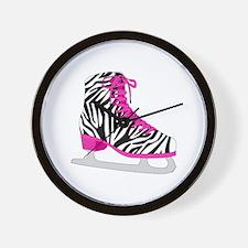 Zebra Pink and Black Ice Skate Wall Clock