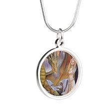 a a dragon horiz det Silver Round Necklace