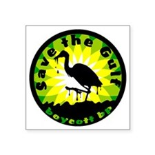 "save the gulf egret circle Square Sticker 3"" x 3"""