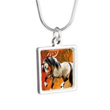 YearOfTheHorsePosterP Silver Square Necklace