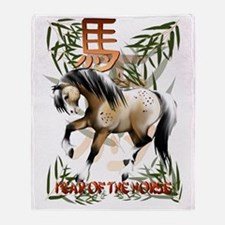 Year O fThe Horse Trans Throw Blanket