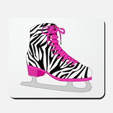 Zebra Pink and Black Ice Skate Mousepad