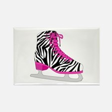 Zebra Pink and Black Ice Skate Magnets
