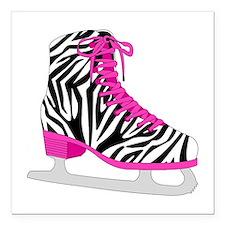 Zebra Pink and Black Ice Skate Square Car Magnet 3