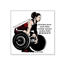 "Woman Powerlifter with chan Square Sticker 3"" x 3"""