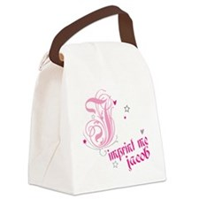 jb-PINK-WHITE Canvas Lunch Bag
