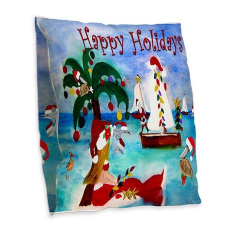 Christmas Boat Parade Burlap Throw Pillow