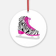 Zebra Pink and Black Ice Skate Ornament (Round)