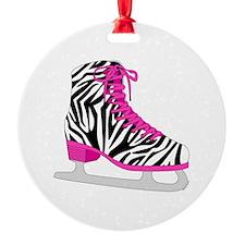 Zebra Pink and Black Ice Skate Ornament