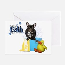 Hot_Bath_French_Bulldog_Teal Greeting Card