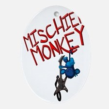 Mischief-Monkey-Guitar Oval Ornament