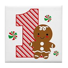 Gingerbread Girl 1st Birthday Tile Coaster