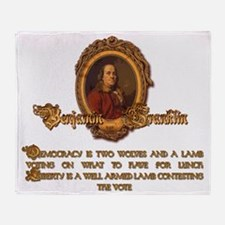 Ben Franklin Two Wolves and a Lamb Throw Blanket