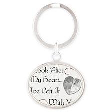 heartleftblk Oval Keychain