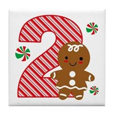 Gingerbread Girl 2nd Birthday Tile Coaster