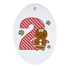 Gingerbread Girl 2nd Birthday Ornament (Oval)