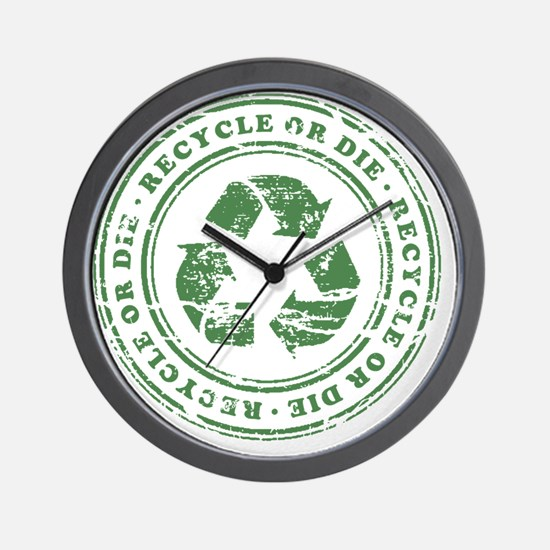 Recycle or Die Wall Clock