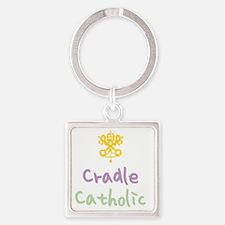 CradleCatholic_both Square Keychain