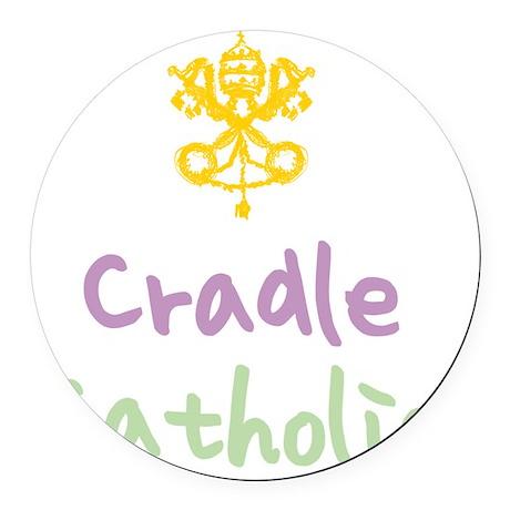 CradleCatholic_both Round Car Magnet