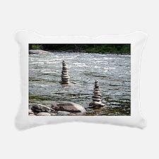River Cairns Rectangular Canvas Pillow